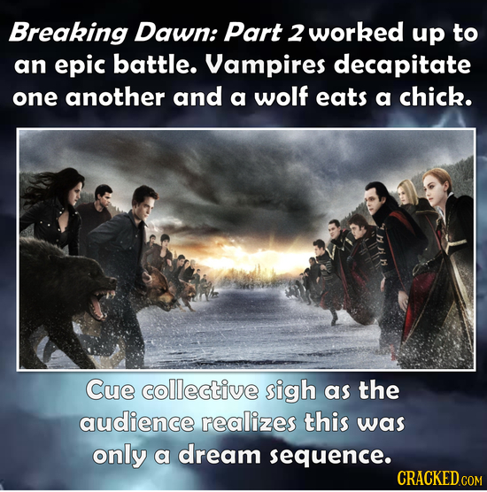 Breaking Dawn: Part 2 worked up to an epic battle. Vampires decapitate one another and a wolf eats a chick. Cue collective sigh as the audience realiz
