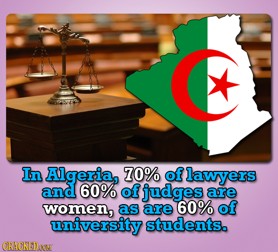 In Algeria, 70% of lawyers and 60% of judges are women, as are 60% of university students. CRACKEDOON