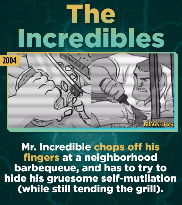 The Incredibles 2004 CRACKED COM Mr. Incredible chops off his fingers at a neighborhood barbequeue, and has to try to hide his gruesome self-mutilatio