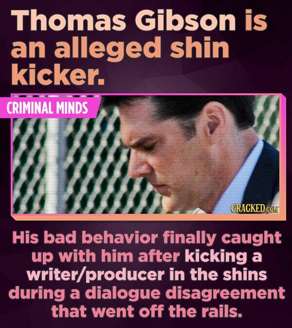 Thomas Gibson is an alleged shin kicker. CRIMINAL MINDS CRACKED CON His bad behavior finally caught up with him after kicking a writer/producer in the