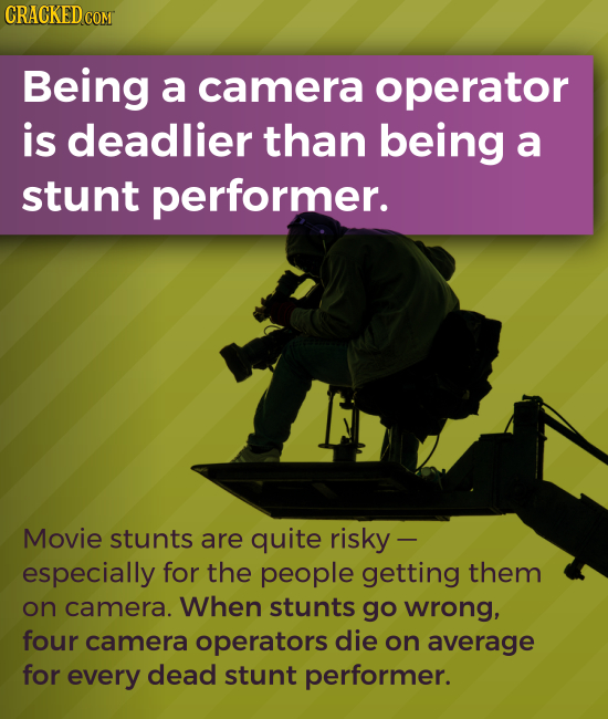 CRACKED COM Being a camera operator is deadlier than being a stunt performer. Movie stunts are quite risky - especially for the people getting them on