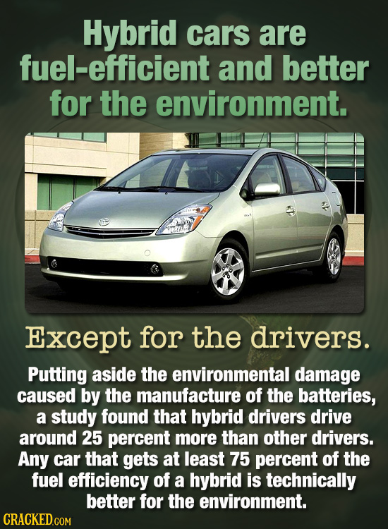 Hybrid cars are fuel-efficient and better for the environment. Except for the drivers. Putting aside the environmental damage caused by the manufactur