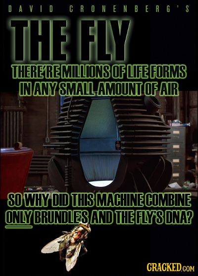 D AVID CRONENBERG'S THE FLY THERERE MILLIONS OF LIFE FORMS IN ANY SMALL AMOUNT OF AIR SO WHY DID THIS MACHINE COMBINE ONLY BRUNDLES AND THE FLY'S DNA?