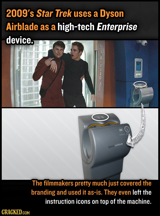 2009's Star Trek uses a Dyson Airblade as a high-tech Enterprise device. G ailode dyron The filmmakers pretty much just covered the branding and used