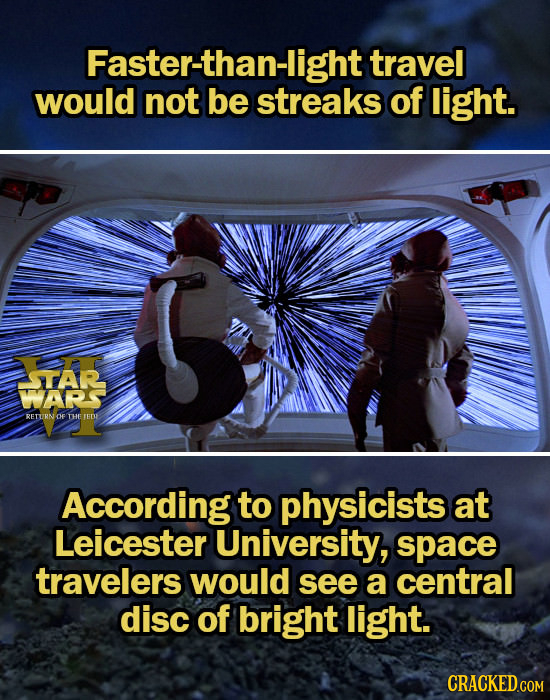 Faster-than-light travel would not be streaks of light. STAR WARS RETURN OF THE TED According to physicists at Leicester University, space travelers w