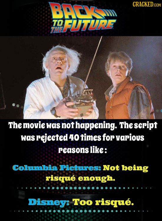 BACY CRACKEDCO COM TO FUTURE THE The movie was not haPpening. The script was rejected 40 times for various reasons like: Columbia Pictures: Not being