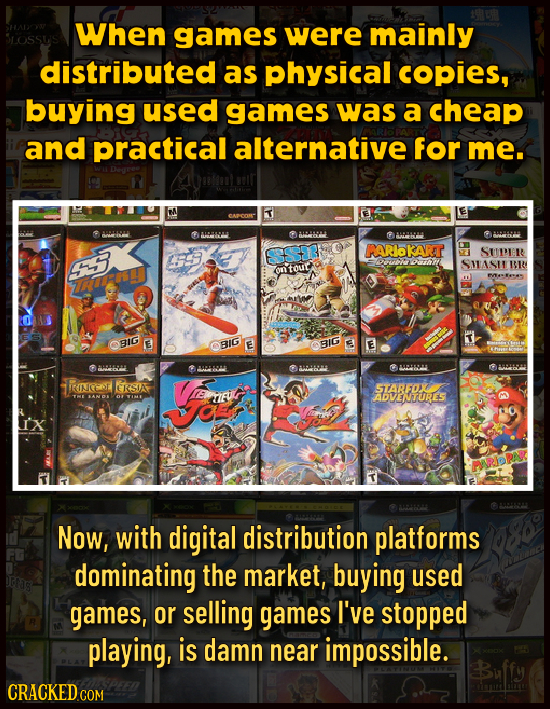 When games were mainly distributed as physical copies, buying used games was a cheap and practical alternative for me. WASHL 961 ANI RARIOKART SUDR ou