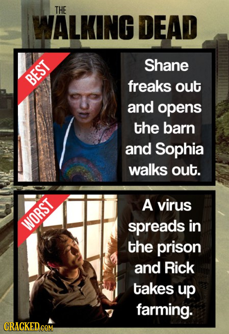 THE WALKING DEAD Shane BEST freaks out and opens the barn and Sophia walks out. A virus WORST spreads in the prison and Rick takes up farming. CRACKED