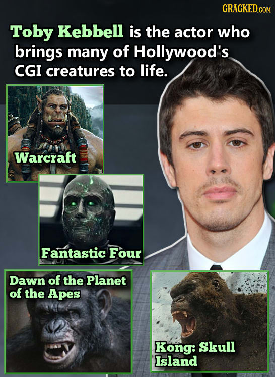 Toby Kebbell is the actor who brings many of Hollywood's CGI creatures to life. Warcraft Fantastic Four Dawn of the Planet of the Apes Kong: Skull Isl