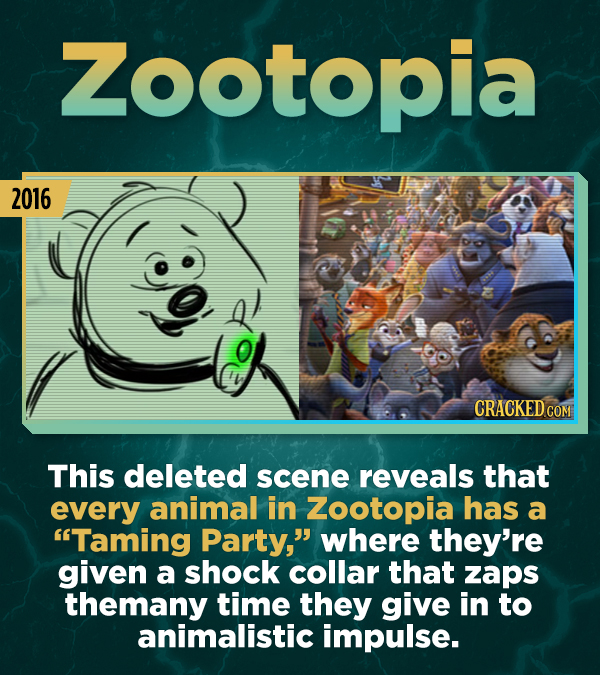 Zootopia 2016 CRACKEDCO COM This deleted scene reveals that every animal in Zootopia has a Taming Party, where they're given a shock collar that zap