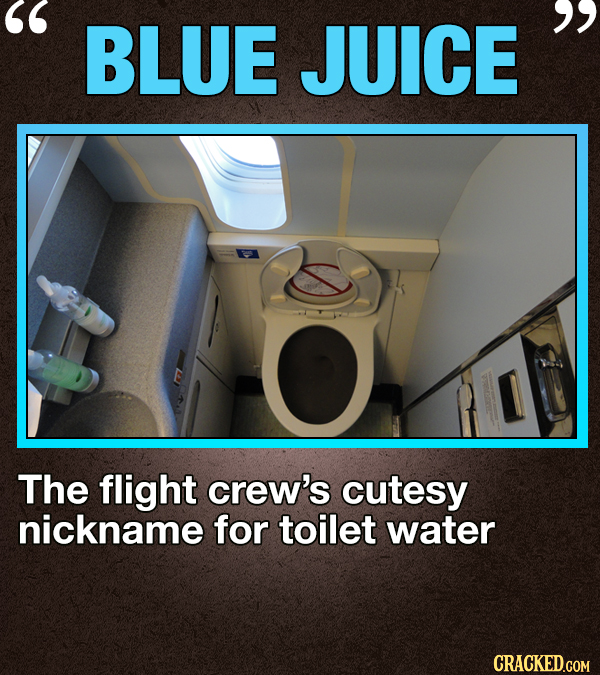 BLUE  JUICE The flight crew's cutesy nickname for toilet water CRACKED.COM