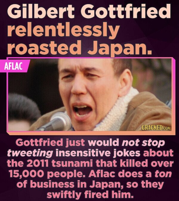 Gilbert Gottfried relentlessly roasted Japan. AFLAC CRACKED COM Gottfried just would not stop tweeting insensitive jokes about the 2011 tsunami that k