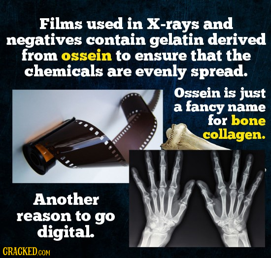Films used in X-rays and negatives contain gelatin derived from ossein to ensure that the chemicals are evenly spread. Ossein is just a fancy name for