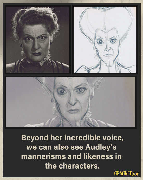 Beyond her incredible voice, we can also see Audley's mannerisms and likeness in the characters.