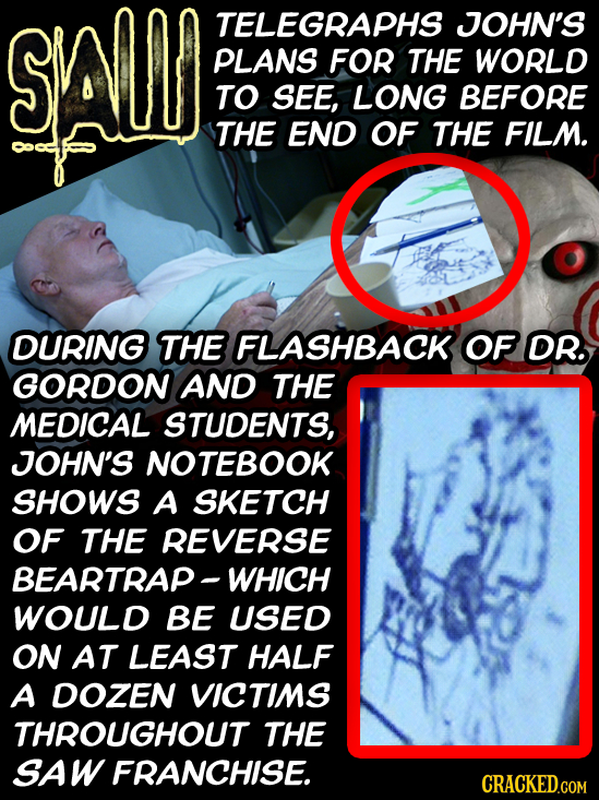 SALS TELEGRAPHS JOHN'S PLANS FOR THE WORLD TO SEE, LONG BEFORE THE END OF THE FILM. DURING THE FLASHBACK OF DR. GORDON AND THE MEDICAL STUDENTS, JOHN'