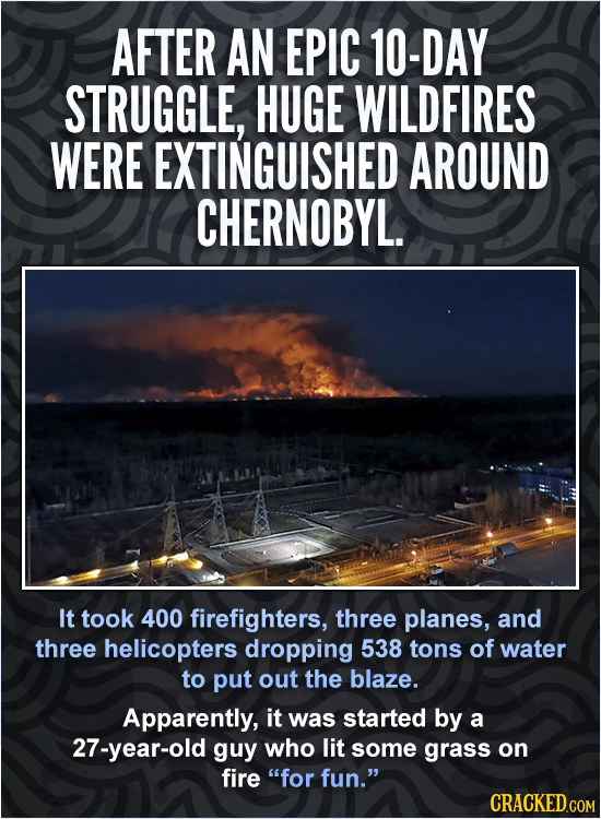 AFTER AN EPIC 10-DAY STRUGGLE, HUGE WILDFIRES WERE EXTINGUISHED AROUND CHERNOBYL. It took 400 firefighters, three planes, and three helicopters droppi