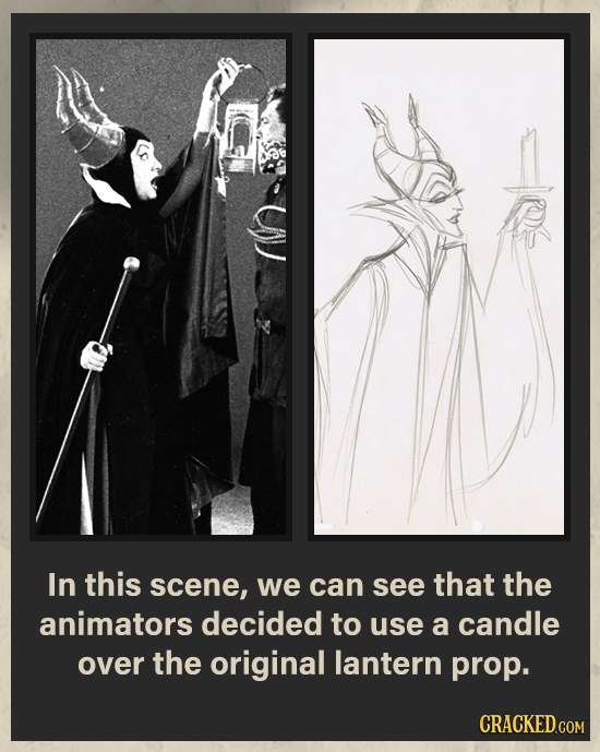 In this scene, we can see that the animators decided to use a candle over the original lantern prop. CRACKED.COM