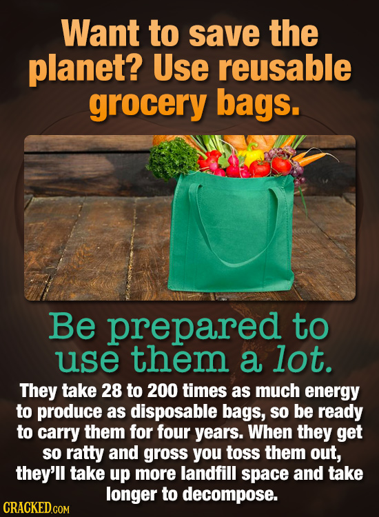 Want to save the planet? Use reusable grocery bags. Be prepared to use them a lot. They take 28 to 200 times as much energy to produce as disposable b