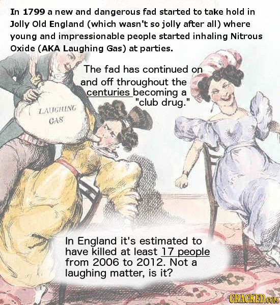 In 1799 a new and dangerous fad started to take hold in Jolly Old England (which wasn't so jolly after all) where young and impressionable people star