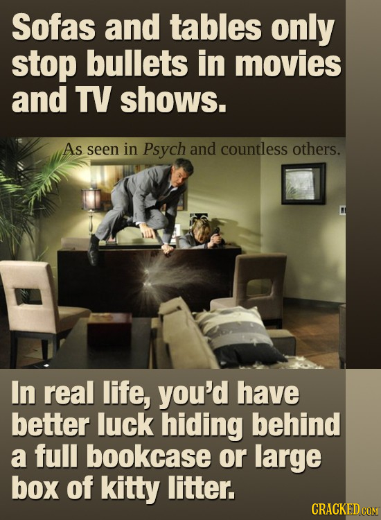 Sofas and tables only stop bullets in movies and TV shows. As seen in Psych and countless others. In real life, you'd have better luck hiding behind a