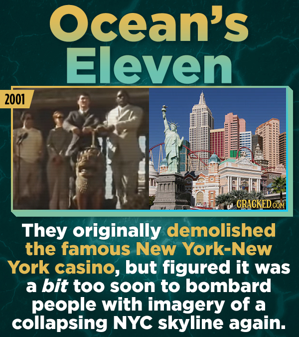 Ocean's Eleven 2001 CRACKEDCO They originally demolished the famous New York-Nev York casino, but figured it was a bit too soon to bombard people with