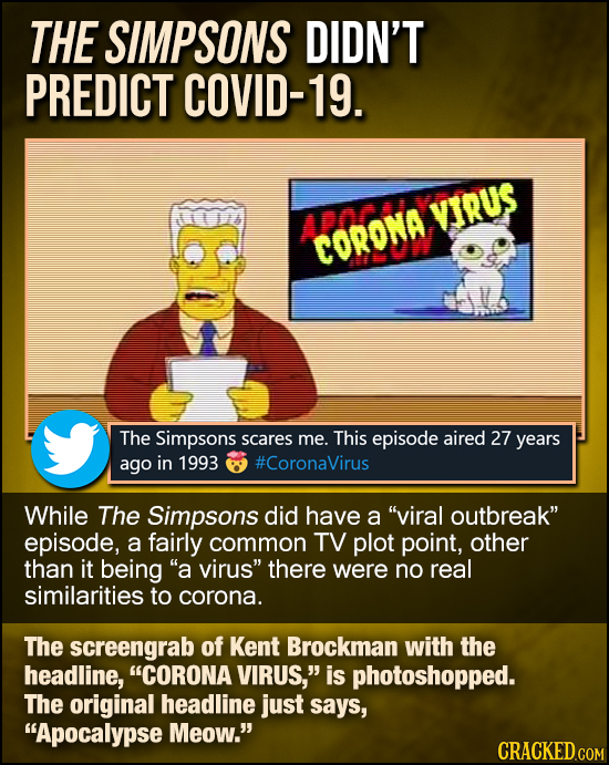 THE SIMPSONS DIDN'T PREDICT COVID-19. VIRUS aan CORONA The Simpsons scares me. This episode aired 27 years ago in 1993 #CoronaVirus While The Simpsons
