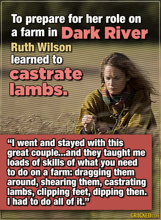 """15 WTF Things Actors Did For Their Art - To prepare for her role on a farm in Dark River, Ruth Wilson learned to castrate lambs.  """"I went and stayed w"""