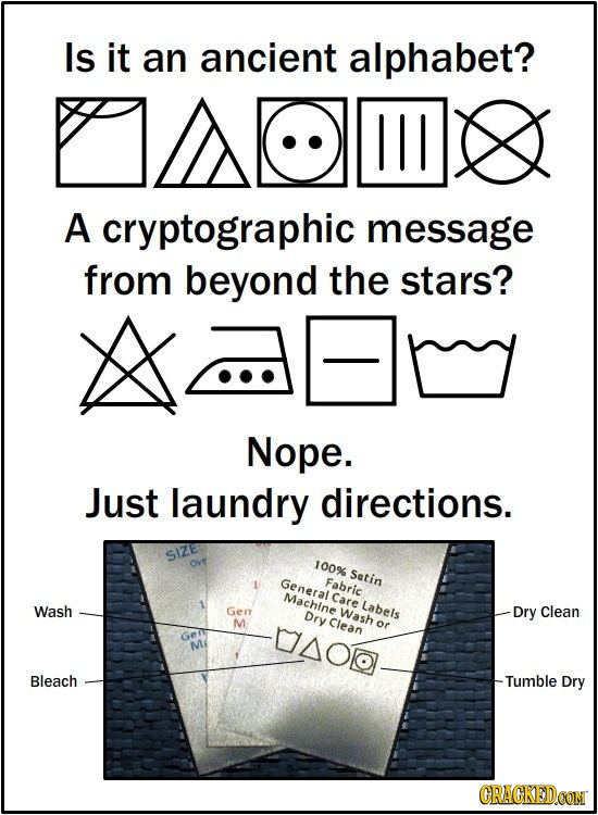 Is it an ancient alphabet? A cryptographic message from beyond the stars? Nope. Just laundry directions. 100% Satin General Fabric Machine Care Labels