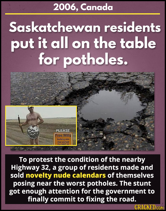 2006, Canada Saskatchewan residents put it all the table on for potholes. PLEASE Free Willy Nothing else Has To protest the condition of the nearby Hi