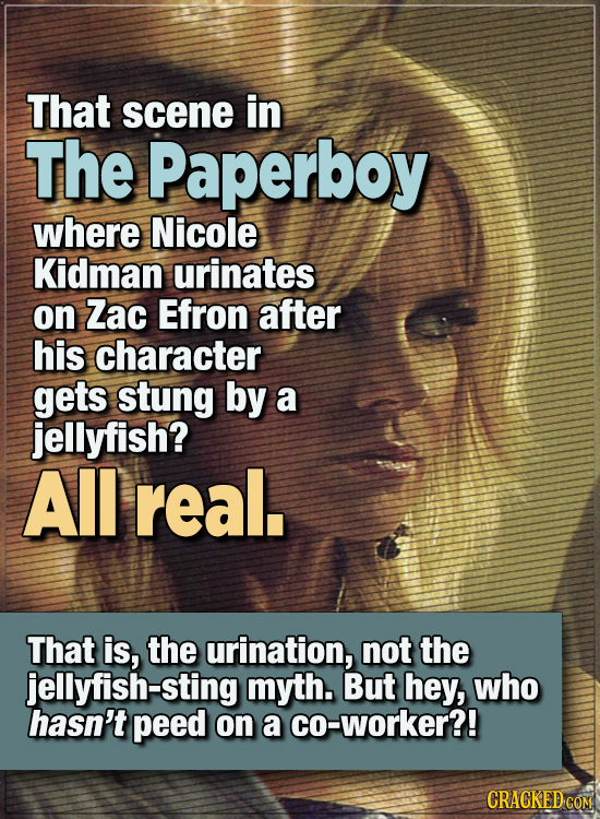 15 WTF Things Actors Did For Their Art - That scene in The Paperboy where Nicole Kidman urinates on Zac Efron after his character gets stung by a jel