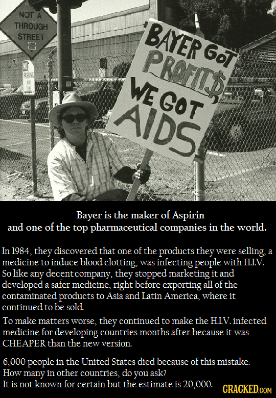 NOT A THROUGH BAYER STREET R PROFITS Got WEGOT AIDS Bayer is the maker of Aspirin and one of the top pharmaceutical companies in the world. In 1984, t