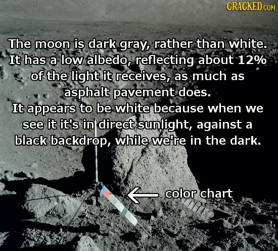 CRACKED CON The moon is dark gray, rather than white. It has a low albedo, reflecting about 12% of the light it receives, as much as asphalt pavement