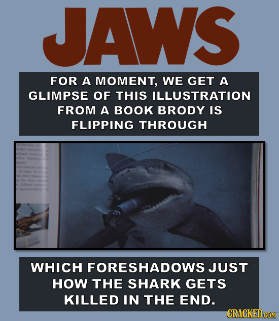 JAWS FOR A MOMENT, WE GET A GLIMPSE OF THIS ILLUSTRATION FROM A BOOK BRODY IS FLIPPING THROUGH WHICH FORESHADOWSJUST HOW THE SHARK GETS KILLED IN THE