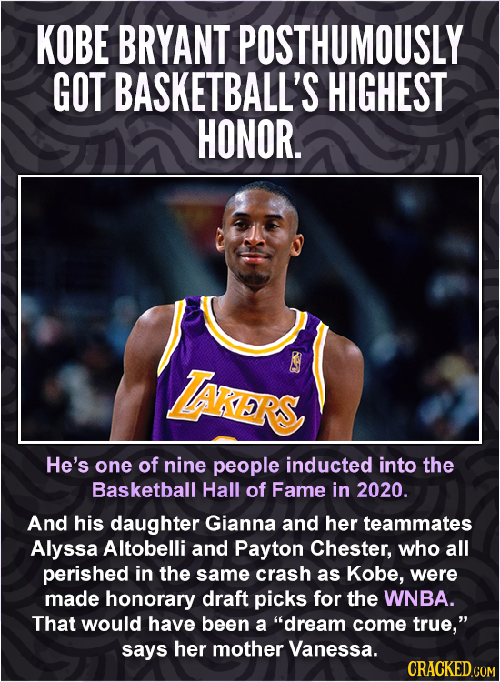 KOBE BRYANT POSTHUMOUSLY GOT BASKETBALL'S HIGHEST HONOR. zRs He's one of nine people inducted into the Basketball Hall of Fame in 2020. And his daught