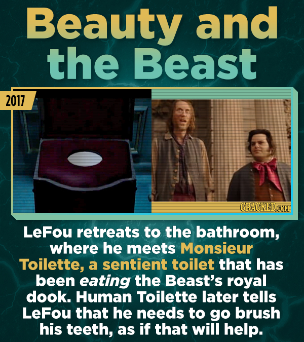 Beauty and the Beast 2017 CRACKEDCONI Lefou retreats to the bathroom, where he meets Monsieur Toilette, a sentient toilet that has been eating the Bea