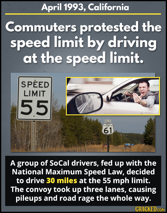 April 1993, California Commuters protested the speed limit by driving at the speed limit. SPEED LIMIT 55 OLD 61 A group of SoCal drivers, fed up with