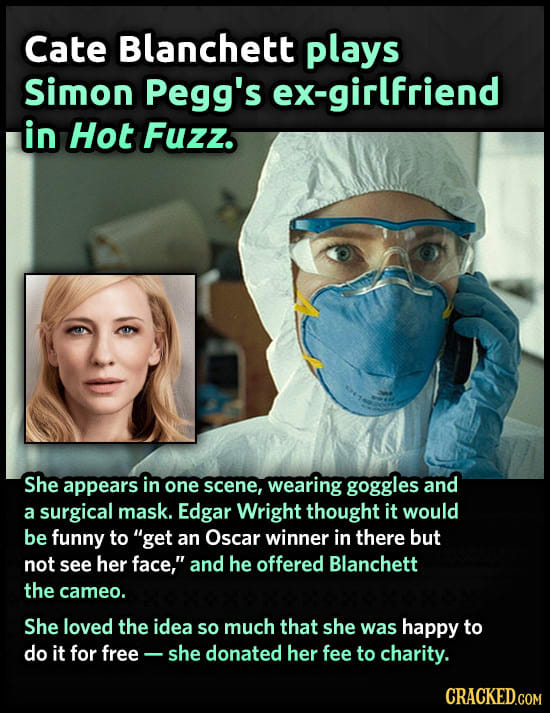Cate Blanchett plays Simon Pegg's ex-girlfriend in Hot Fuzz. She appears in one scene, wearing goggles and a surgical mask. Edgar Wright thought it wo