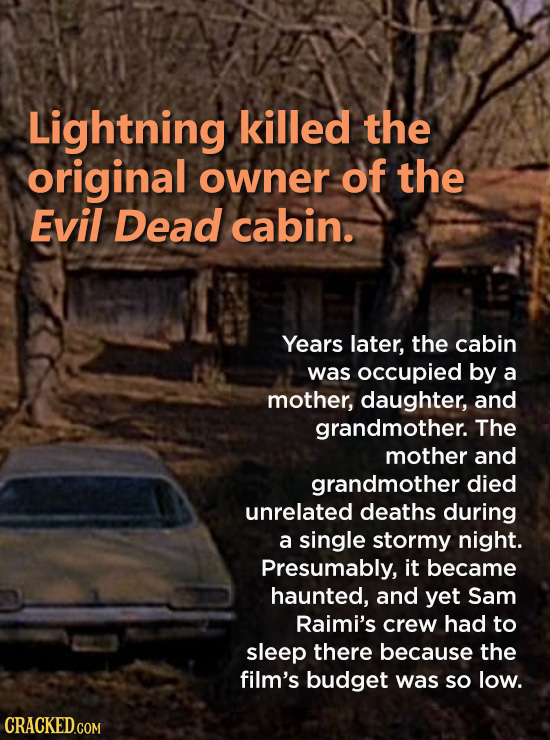 Lightning killed the original owner of the Evil Dead cabin. Years later, the cabin was occupied by a mother, daughter, and grandmother. The mother and