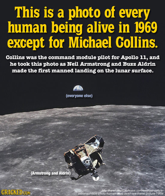 This is a photo of every human being alive in 1969 except for Michael Collins. Collins was the command module pilot for Apollo 11, and he took this ph