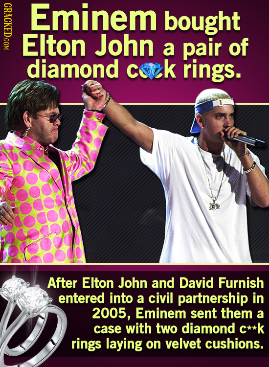 CRICy Eminem bought EIton John a pair of diamond cuk rings. After EIton John and David Furnish entered into a civil partnership in 2005, Eminem sent t