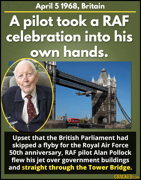 April 5 1968, Britain A pilot took a RAF celebration into his hands. own Upset that the British Parliament had skipped a flyby for the Royal Air Force