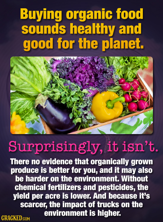 Buying organic food sounds healthy and good for the planet. Surprisingly, it isn't. There no evidence that organically grown produce is better for you