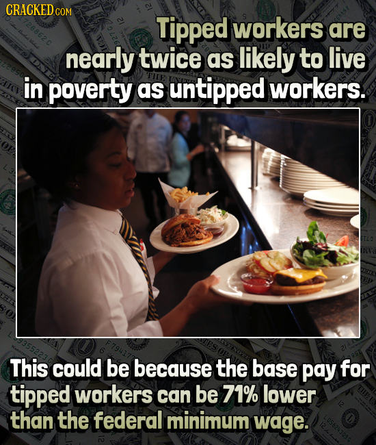 CRACKEDCO COM Tipped workers are nearly twice as likely to live in poverty as untipped workers. This could be because the base pay for tipped workers