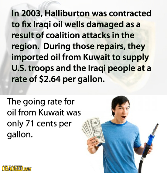 In 2003, Halliburton was contracted to fix Iraqi oil wells damaged as a result of coalition attacks in the region. During those repairs, they imported