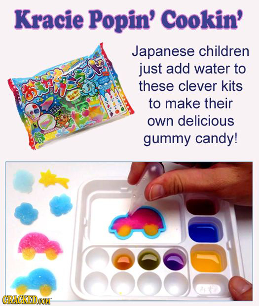 Kracie Popin' Cookin' Japanese children just add water to these clever kits to make their own delicious gummy candy! 1 CRACKED.CON