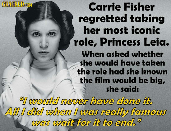 Carrie Fisher regretted taking her most iconic role, Princess Leia. When asked whether she would have taken the role had she known the film would be b