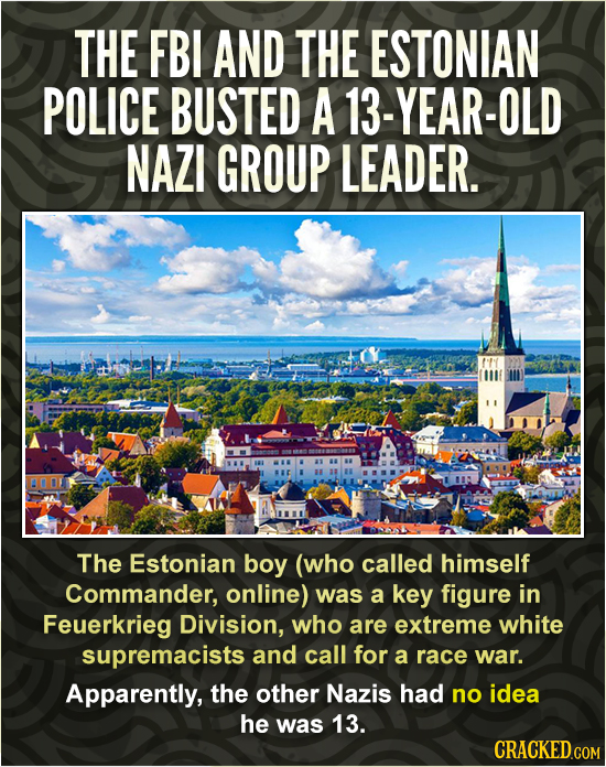 THE FBI AND THE ESTONIAN POLICE BUSTED A 13-YEAR-OLD NAZI GROUP LEADER. The Estonian boy (who called himself Commander, online) was a key figure in Fe