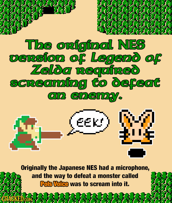 The original NES uension oF Legeno of Zelda Required scReaning to defeat an enemy EEK Originally the Japanese NES had a microphone, and the way to def