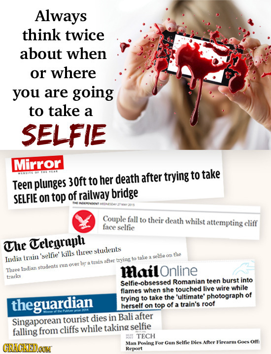 Always think twice about when or where you are going to take a SELFIE Mirror trying to her death after to take Teen plunges 30ft SELFIE top of railway