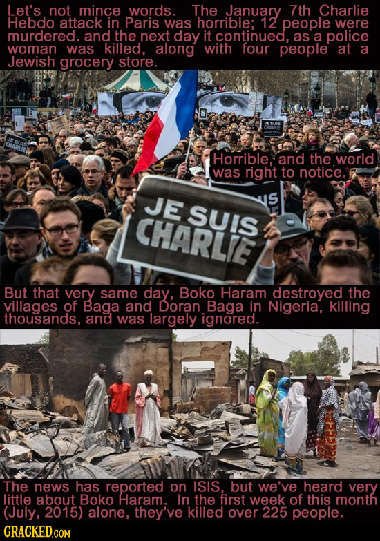 Let's not mince words. The January 7th Charlie Hebdo attack in Paris was horrible: 12 people were murdered. and the next day it continued. as a police